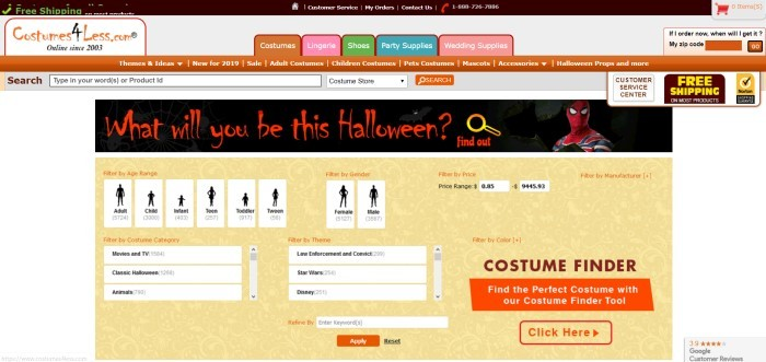 This screenshot of the home page of Costumes 4 Less includes a white background, an orange navigation bar, and a yellow middle section with several white filter boxes to help customers search by age, gender, price, theme, and costume category.