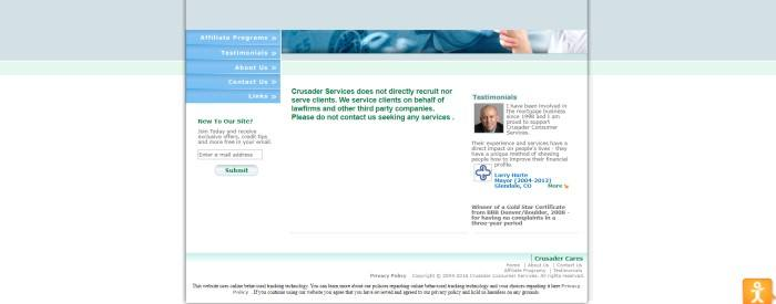 This screenshot of the home page for Crusader Services has a white background with blue, mint green, and grayish blue elements, as well as dark green text telling browsers that the services only work on behalf of law firms and third party companies, asking people to not contact them seeking services.