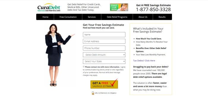 This screenshot of the home page for CuraDebt has a white background, black text and a black navigation bar, green elements in the logo, and a photo of a smiling woman in a black business suit gesturing toward an opt-in box for requesting more information.
