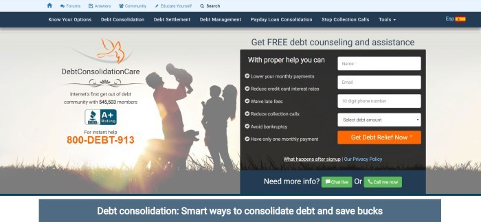 This screenshot of the home page for Debt Consolidation Care includes a beige background and a filtered photo that includes silhouettes of a family, behind black text announcing Debt Consolidation Care as the internet's first get out of debt community, along with an opt-in box for more information.