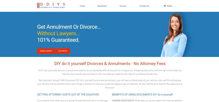 This screenshot of the home page for Document Do It Yourself Service has a white navigation bar above a blue section containing a photo of a smiling brown-haired woman in a light blue sweater next to an announcement for getting an annulment or divorce online without lawyers.