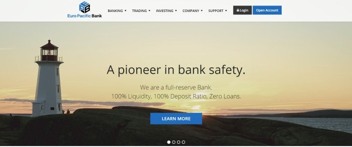 This screenshot of the home page for Euro Pacific Bank has a gray header with black and blue elements above a photo of a lighthouse in a golden sunrise, behind black text that reads
