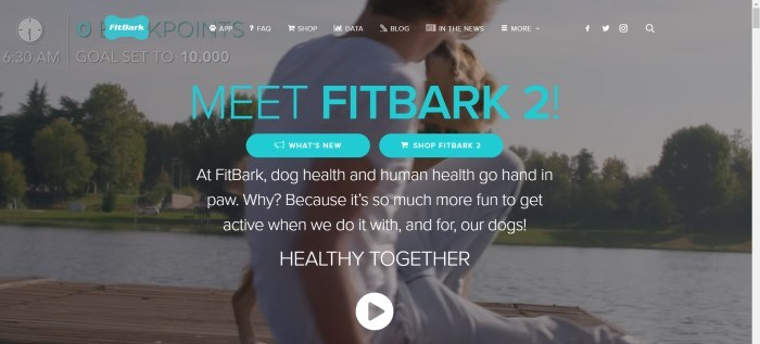 This screenshot of the home page for FitBark has a dark filtered photo of a man and his dog in a green park near a river, behind turquoise-colored text announcing the FitBark 2.0.