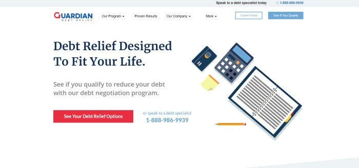 This screenshot of the home page for Guardian Debt Relief has a white background with graphic-designed images of an accounting book, calculator, credit card, and post-it note, along with a red call-to-action button and black text that reads 'Debt relief designed to fit your life.'
