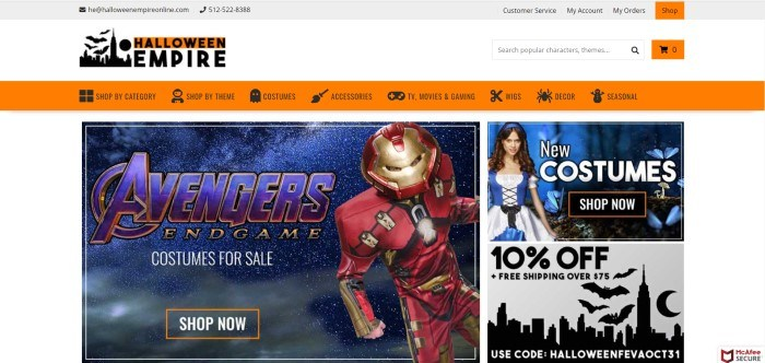This screenshot for the home page for Halloween Empire has a white background, an orange navigation bar, and photos of people in costumes, including Iron Man and a shepherdess, along with a 10% off discount code.