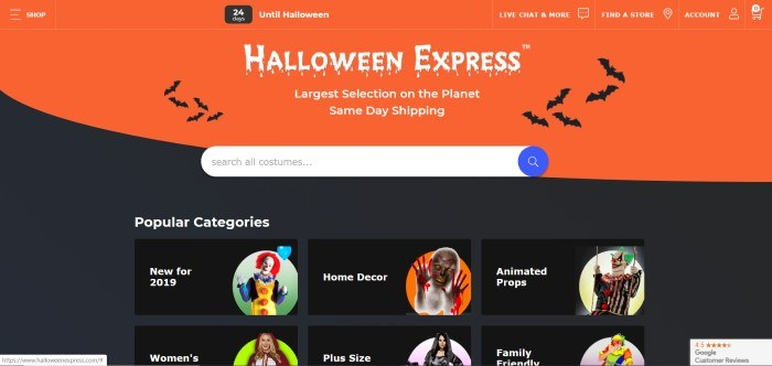 This screenshot of the home page for Halloween Express has a black and orange background with graphics of flying bats, along with white text announcing Halloween Express and a white search bar for shopping for costumes.