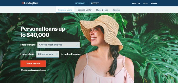 This screenshot of the home page for Lending Club has a blue header above a gray navigation bar and a photo of a smiling woman in a straw hat near tropical plants, next to white text announcing personal loans of up to $40,000 and some windows in which customers can begin searching for a loan, along with a red call-to-action button.