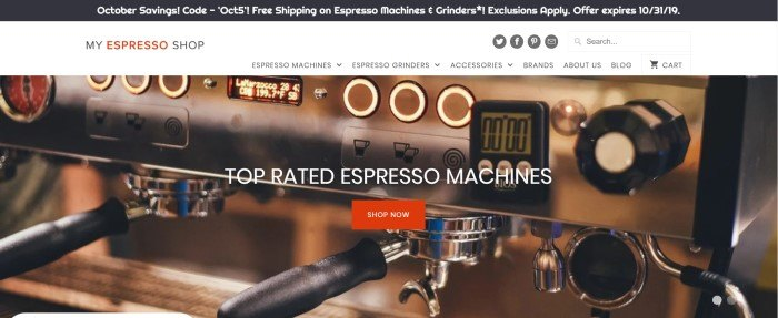 """This screenshot of the home page for My Espresso Shop shows a closeup photo of a commercial espresso machine, behind the words """"Top rated espresso machines"""" and a red """"Shop now"""" button."""