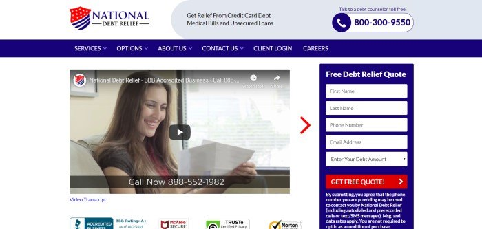 This screenshot of the home page for National Debt Relief has a white background with royal blue and red elements, an embedded video featuring a smiling woman with papers in her hand, and a box for requesting quotes on the right side of the page.