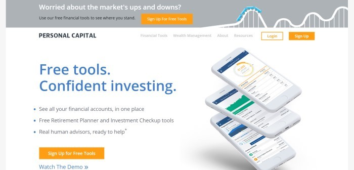 This screenshot of the home page for Personal Capital has a gray header with an image of a roller coaster with white and black text inviting customers to avoid the market's ups and downs and use the free tools offered, above a white section with blue and black text announcing and describing the tools, along with a stack of three mobile devices with banking information on the screens and three orange call-to-action buttons.