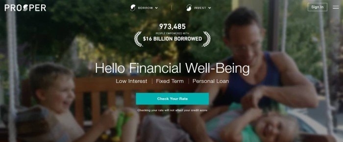 """This screenshot of the home page for Prosper has a dark-filtered photo of a family laughing and playing together behind white text that reads """"Hello financial well-being"""" and an aqua-colored call-to-action button for checking interest rates on possible loans."""