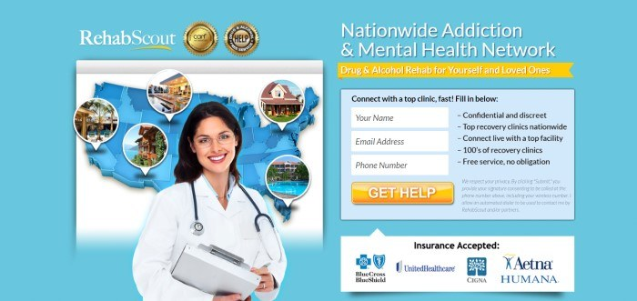 This screenshot of the home page for Rehab Scout has a light blue background, a photo of a smiling dark haired woman with glasses and a white lab coat standing in front of a map with pop-out photos of different treatment centers, and an opt-in box for getting more information.