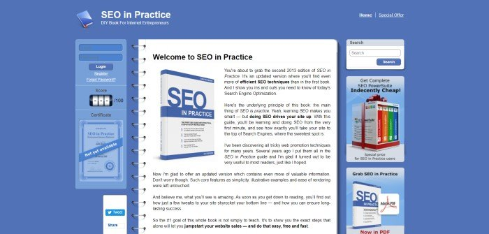 This screenshot of the home page for SEO In Practice has a blue background with a white middle section that looks like a notebook, containing black text that introduces and promotes the book 'SEO In Practice,' as well as a blue opt-in box, a white search box, and an advertisement for SEO PowerSuite.