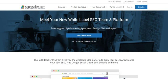 This screenshot of the home page for SEOReseller has a dark blue filtered photo of a room full of people working on computers, behind white text announcing SEOReller as a white label SEO team and platform.