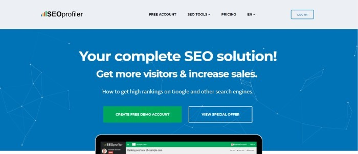 This screenshot of the home page for SEOprofiler has a blue background with white text announcing SEO profiler as the complete SEO solution, along with a green call-to-action button for creating a free demo account.