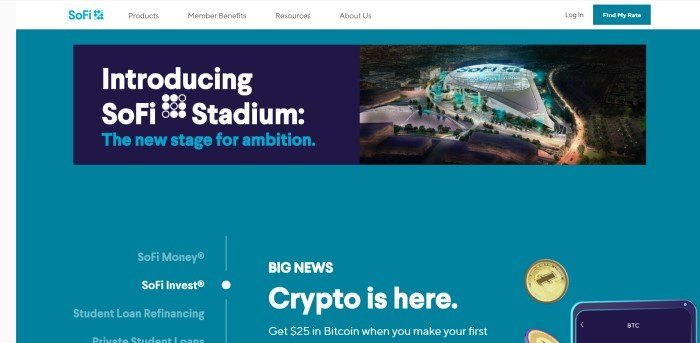 This screenshot of the home page for SoFi has a teal background with a dark blue section containing a photo of the SoFi stadium next to white and blue text that reads 'Introducing SoFi Stadium: The new stage for ambition.'