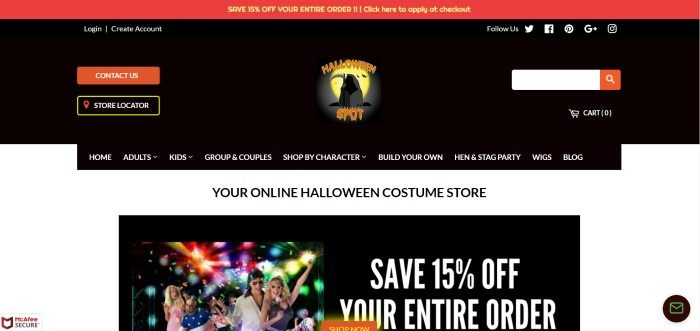 This screenshot of the home page for The Halloween Spot has a large black header, a black navigation bar, and a white background with black text that reads 'Your online Halloween costume store' above a photo with text announcing a 15% off sale.