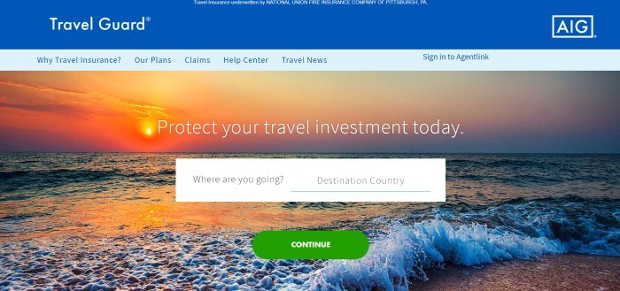 This screenshot of the home page for Travel Guard has a royal blue header, a light blue navigation bar, and a large photo of a sunset over the ocean behind white text that reads