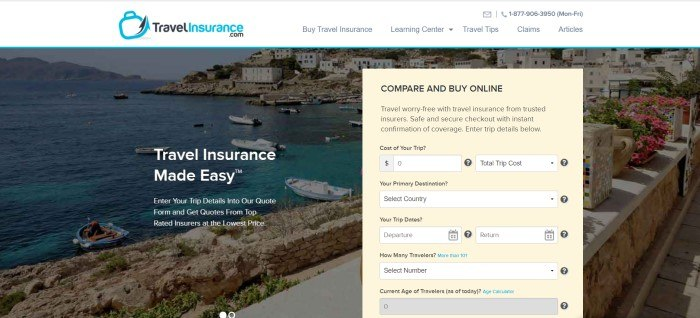 This screenshot of the home page for TravelInsurance.com has a white background, a large dark-filtered photo of a coastal town with boats in the water, and a pale yellow comparison box where customers can begin to search for the best travelers insurance quotes.