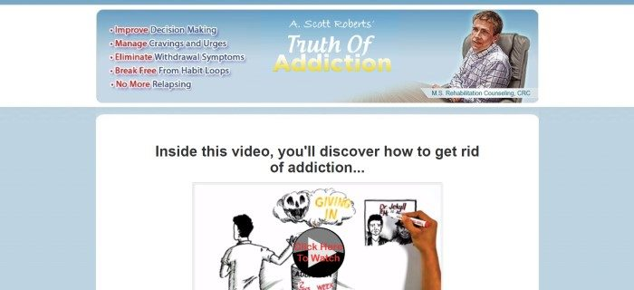 """This screenshot of the home page for Truth of Addiction has a white background with light blue elements, a graphic image of a man sitting in a black and white shirt sitting in an office chair near a boardroom table, text describing what people can learn in """"Truth of Addiction,"""" and an embedded video describing how to get rid of addiction."""