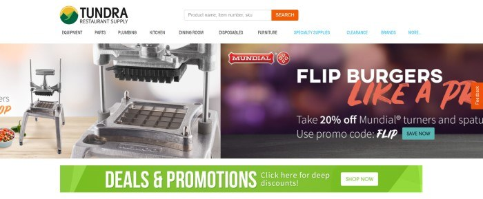 This screenshot of the home page for Tundra Restaurant Supply has a white navigation bar, a photo of what appears to be a french fry press, an advertisement for Mundial products, and a green banner advertising deep discounts.