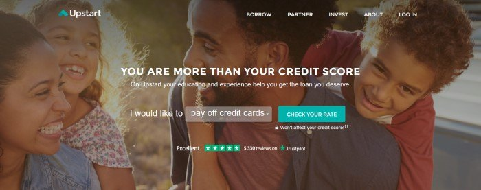 This screenshot of the home page for Upstart includes a filtered photo of a smiling family behind white lettering that reads 'You are more than your credit score,' along with an opt-in section with a teal-colored call-to-action button.