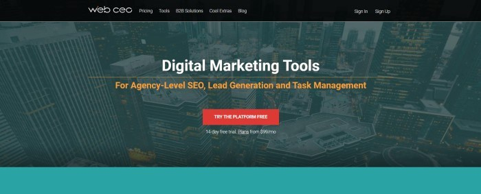 This screenshot of the home page for WebCEO has a dark filtered photo of city buildings behind white marketing introducing digital marketing tools and a red call-to-action button for a free trial period.