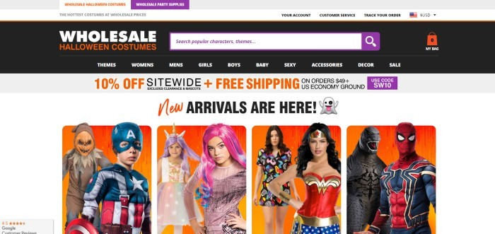 This screenshot of the home page for Wholesale Halloween Costumes has a white background, black header and navigation bar and several photos of people in different costumes, including Captain America, mermaids, Wonder Woman, a nurse, and Spiderman.