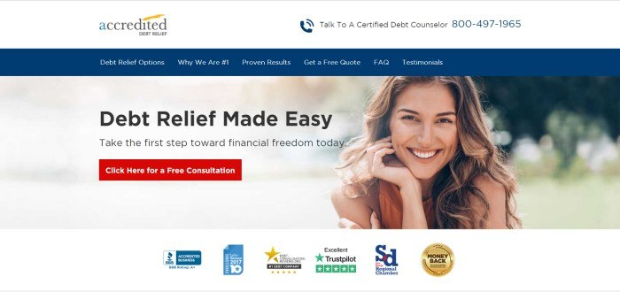 This screenshot of the home page for Accredited Debt Relief has a blue navigation bar, a red call to action button, and a photo of a smiling woman next to black text that reads 'Debt relief made easy.'