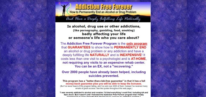 This screenshot of the home page for Addiction Free Forever has a blue and purple background behind a central text box with text in blue, black, and red that describes how to permanently end an alcohol or drug problem, along with a central banner image showing a man on top of a mountain range waving multi-colored ribbons in the air.