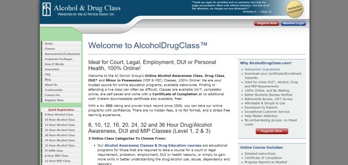 This screenshot of the home page for Alcohol & Drug Class has a blue header, pale green sidebar where customers can go directly to information they want, and a central text box describing the products and services in blue and black text.