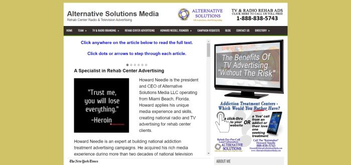 This screenshot of the home page for Alternative Solutions Media includes a yellow background and a central white text area with text in blue and black describing services of Alternative Solutions Media and the background of Howard Needle, the president and CEO.