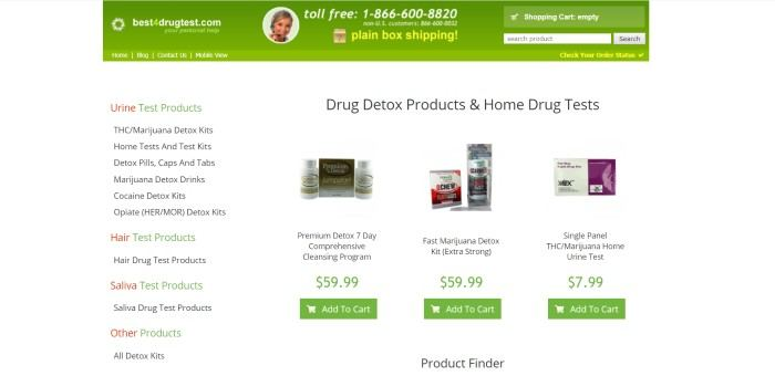 This screenshot of the home page for Best4DrugTest.com has a white background with a green header above a selection of drug detox and home drug test kits with photos and information about each kit