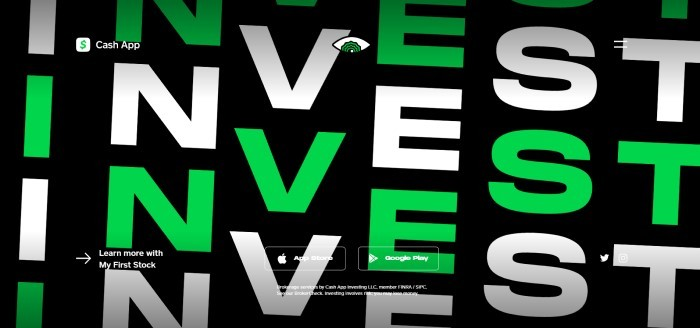 "This screenshot of the home page for Cash App has a black background with white and green letters spelling out the word ""Invest"" several times."