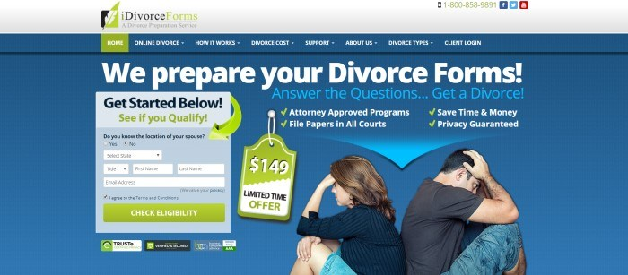 This screenshot of the home page for iDivorce Forms has a dark blue background with mostly white text announcing divorce forms help, along with a 'get started' window and a photo of a man and woman sitting back to back with their heads in their hands.
