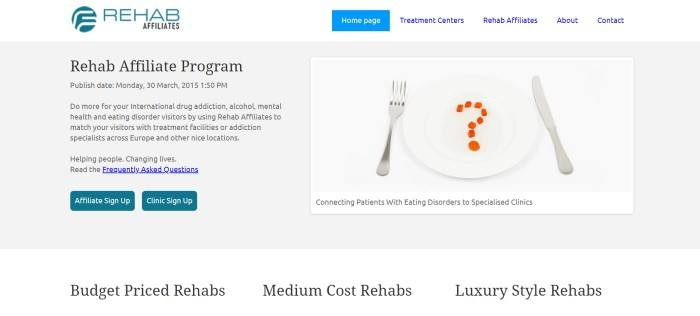 This screenshot of the home page for Rehab Affiliates has a white and gray background with blue text in the navigation bar black text describing some of the rehab programs, and a photo of a white plate with carrots arranged in a question mark above an advertisement for treatment for eating disorders.