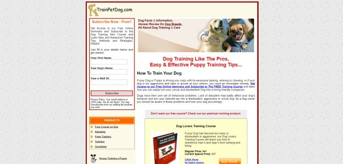 This screenshot of the home page for PupPod has a white background and navigation bar above an image of a black and white dog playing with a red PupPod on a speckled beige hard floor, behind white text that reads