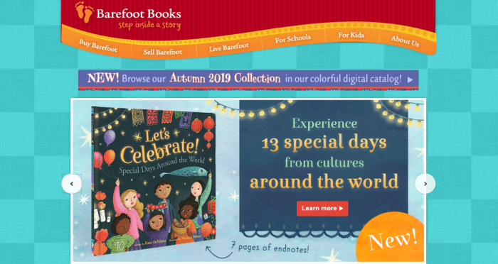 A website screenshot from barefoot books showing one of their books and the idea of celebrating