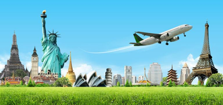 This image shows an airplane flying over a row of global landmarks, including the Statue of Liberty, the Eiffel Tower, and several others, representing the best flight booking affiliate programs.