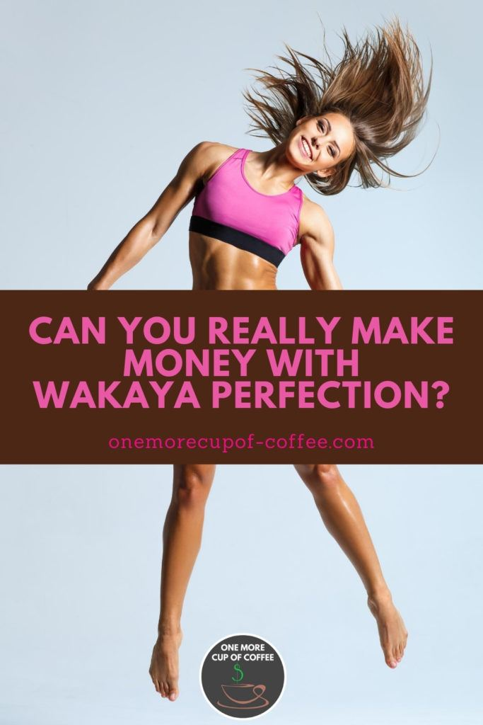 smiling fit woman in pink workout clothes in mid jump, with text overlay