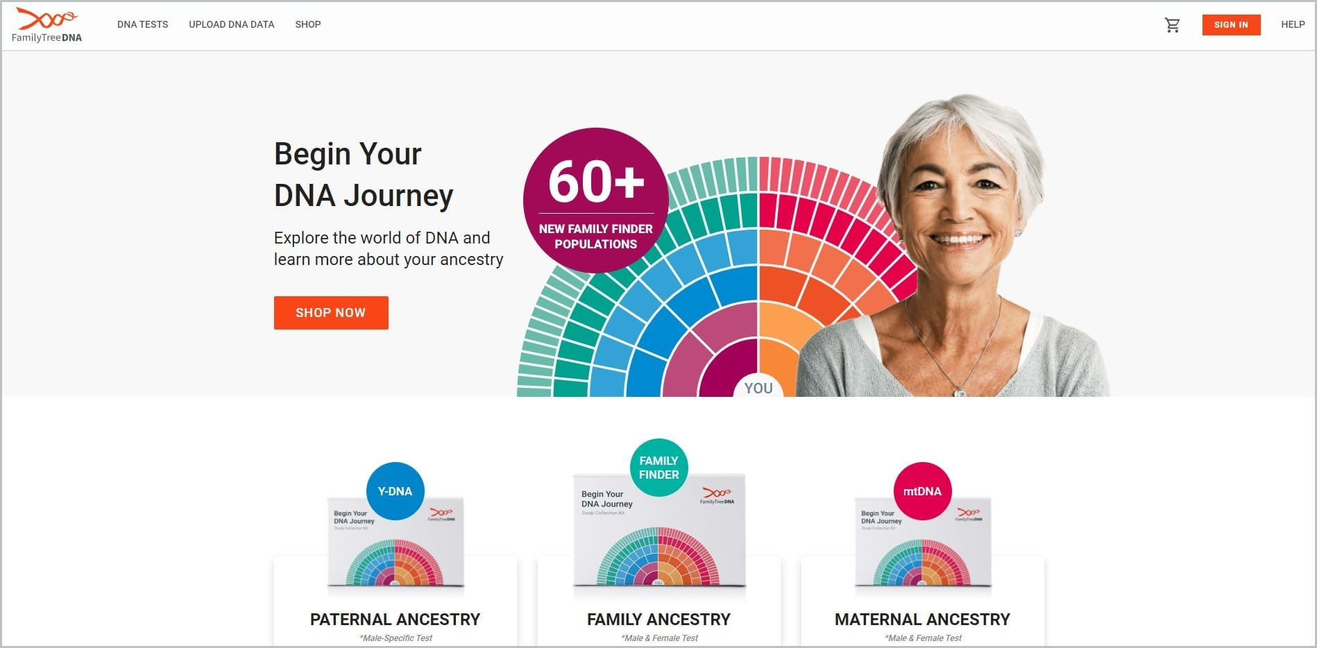 screenshot of FamilyTreeDNA homepage, with white header bearing the website's name and main navigation menu, showcasing an elderly smiling woman in white top with a colorful palate behind her
