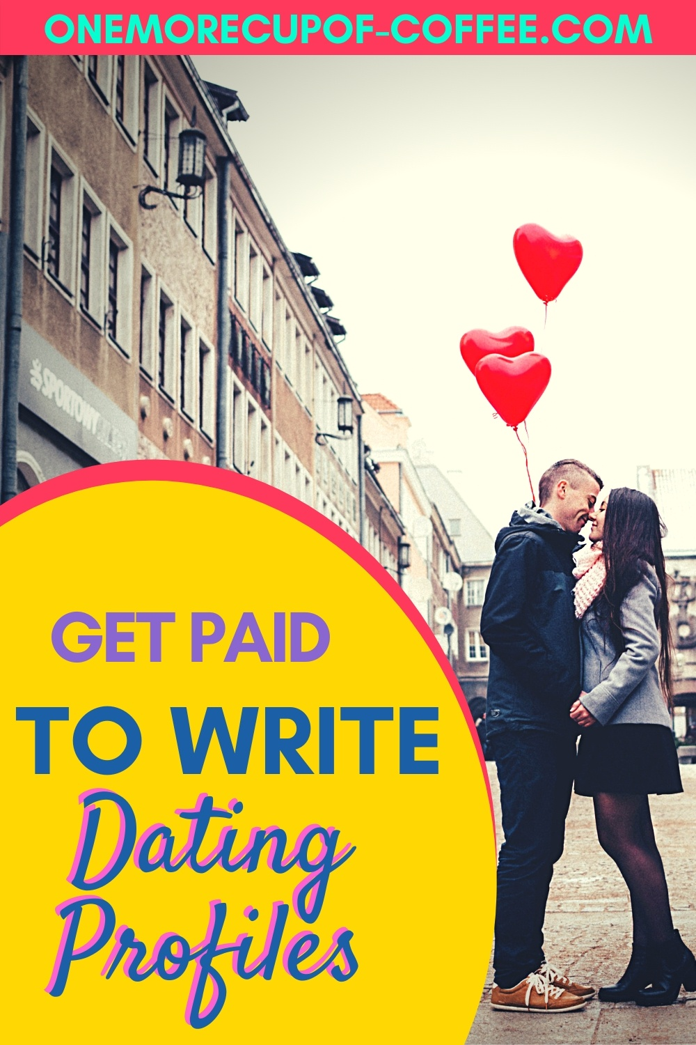 Man and woman kissing in the street to represent getting paid to write dating profiles.
