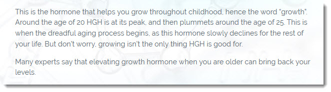 Text about the way human growth hormone works in the body