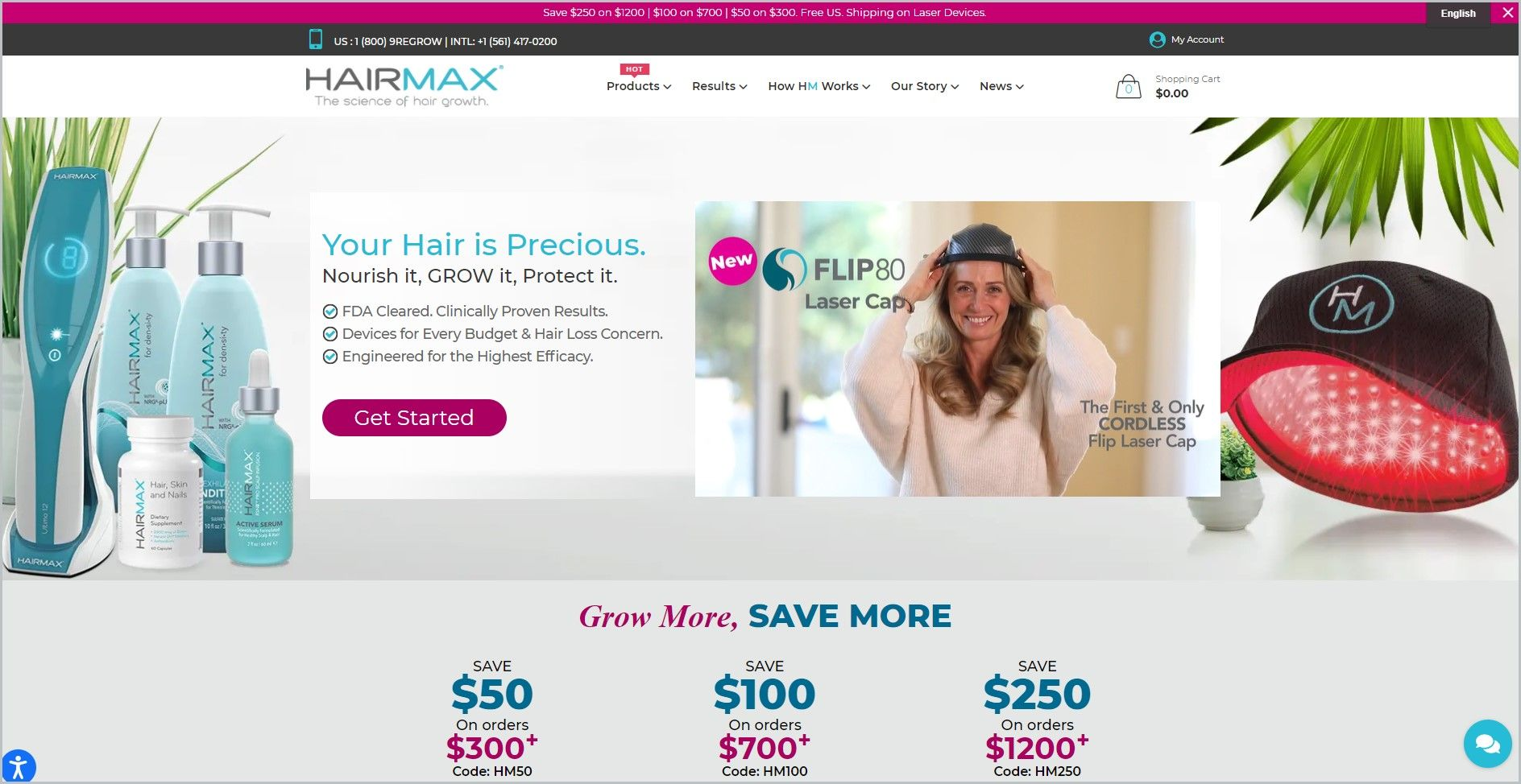 screenshot of HairMax homepage, with a white header bearing the website's name and showcasing an image of the company's laser device and some of its hair care products