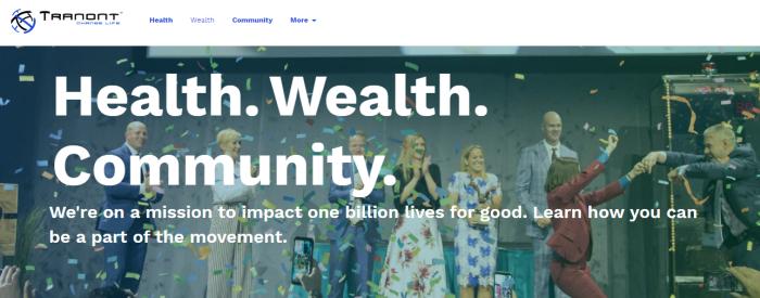 Website screenshot from Tranont