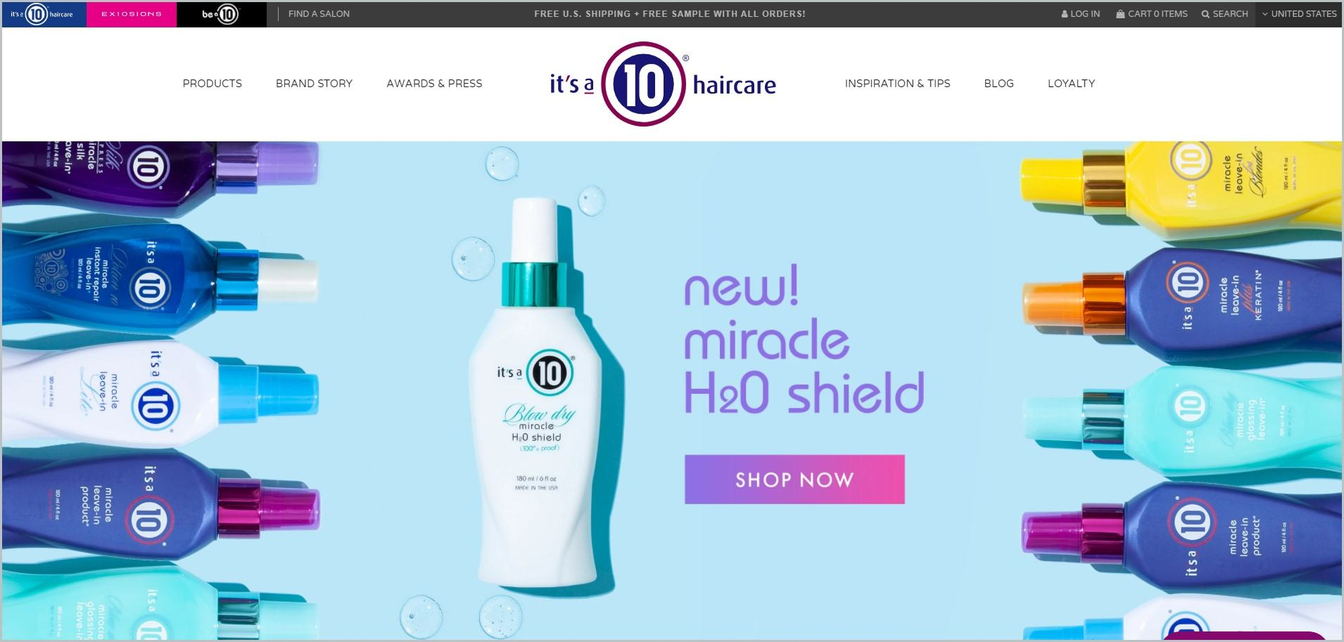 screenshot of It's A 10 Hair Care homepage, with black announcement bar, white header bearing the website's name and main navigation menu, it also showcases pictures of the website's products laid out as the main image
