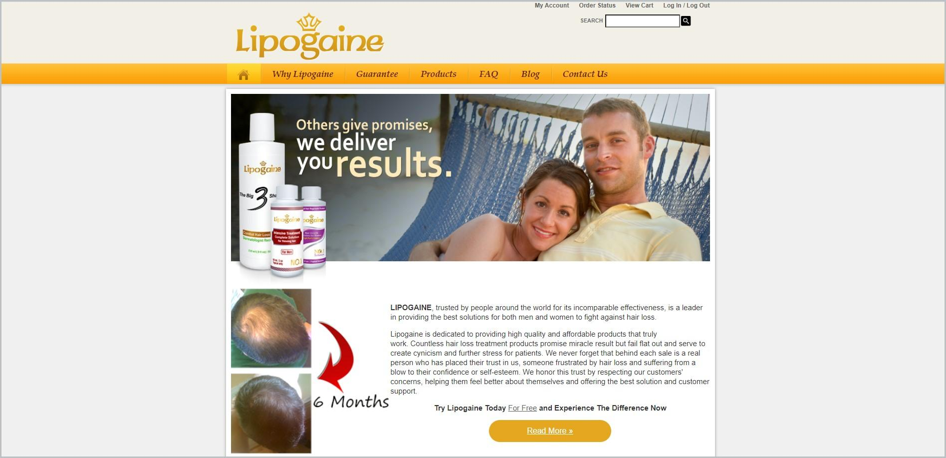 screenshot of Lipogaine homepage with yellow navigation bar and the website's name above it, it showcases an image of a couple on a hammock and an image of the website's products