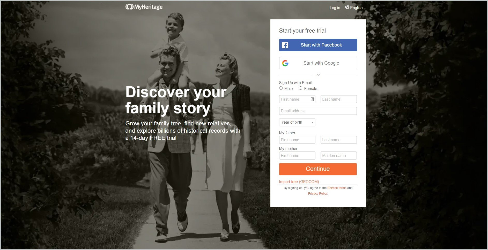 screenshot of MyHeritage homepage, showing the website's name and a signup area for their 14-day free trial offer, it also showcases a vintage family photo as background