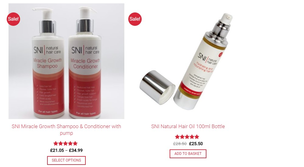 SNI hair care best sellers page