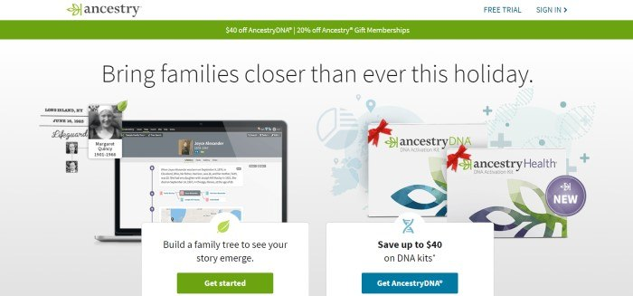 This screenshot of the home page for Ancestry includes a white navigation bar, a green sales bar, and a white section with black text that shows a family tree on a computer screen and a green call-to-action button to get started, as well as a photo of DNA kits and a blue call-to-action button.
